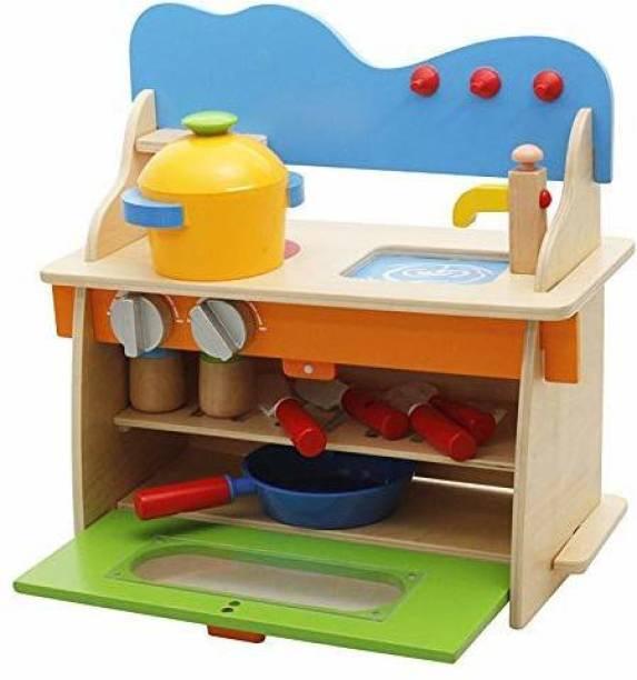 Smartcraft Wooden Kitchen Toy Set with Utensils Cupboard for Kids