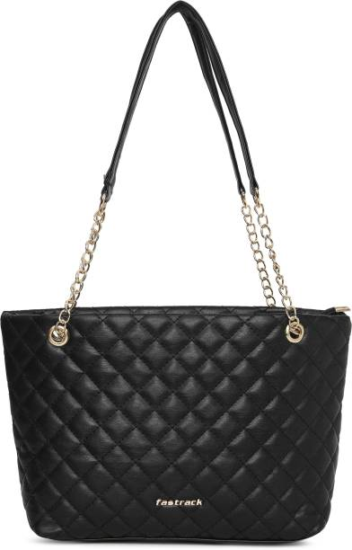 Fastrack Black Tote Quilted Black Tote Bag