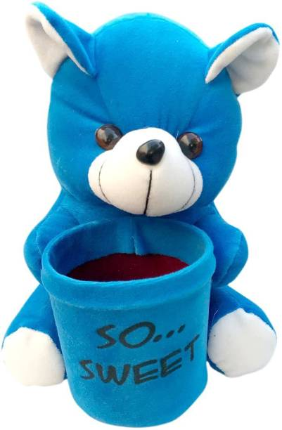 Toys Adventure So Sweet Blue Teddy Bear with Pen Box Soft Toy (13X15X24)cm Pack of 1  - 24 cm