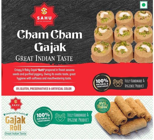 Sahu Gajak Bhandar Rajasthani Homemade Traditional Cham Cham Gazzak Barfi 500 Gm With Gazak Roll 300 Gm ( Combo Pack 800 Gm) Healthy Snacks No Added Preservatives Box