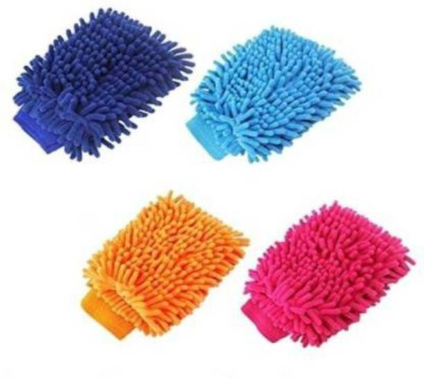 Wosofy Wosofy-Double-Sided Standard Microfiber Cleaning Gloves Scratch-Less and Reusable Duster for Wet or Dry Applications Pack Of 4 Wet and Dry Glove Set