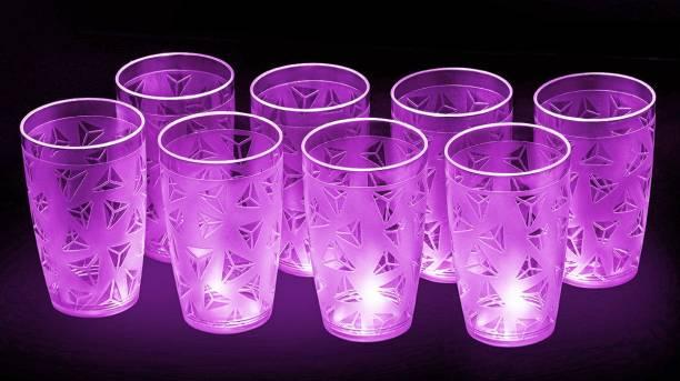 Sedulous (Pack of 8) 100% Unbreakable Curved Shape Prism Pattern Water Juice Drinking Glasses Set Of 8 ( Purple,Plastic) Glass Set