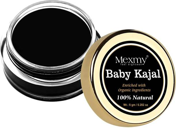 Mexmy Baby Kajal Black For Newborn - 100% Natural, Enriched With Certified Organic Ingredients And Desi Cow Ghee, Chemical-Free Kajal, Water Resistant and Long Lasting