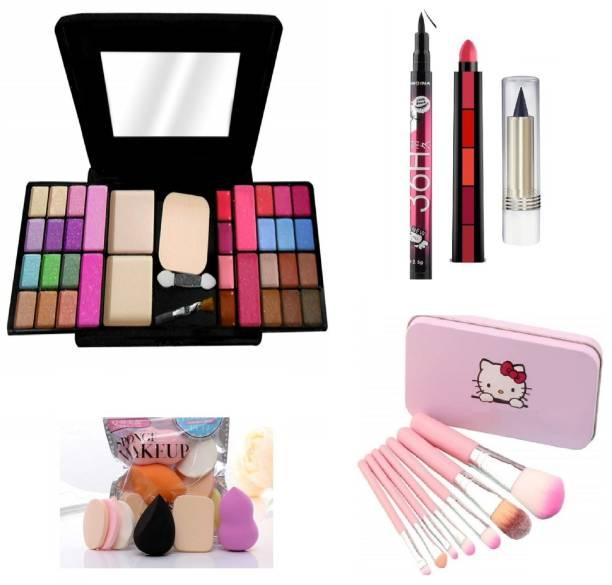 teayason All in One 6154 Travel Fashion Makeup Kit for Girls with EyeLiner, Kajal, Makeup Brushes, Sponges and 5 in 1 Lipstick