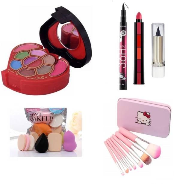 teayason All in One 5001 Travel Fashion Makeup Kit for Girls with EyeLiner, Kajal, Makeup Brushes, Sponges and 5 in 1 Lipstick