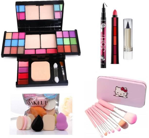 teayason All in One 6174 Travel Fashion Makeup Kit for Girls with EyeLiner, Kajal, Makeup Brushes, Sponges and 5 in 1 Lipstick