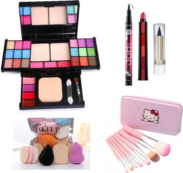 MY TYA All in One 6174 Fashion Makeup Kit for Girls with EyeLiner, Kajal, Makeup Brushes, Sponges and 5 in 1 Lipstick