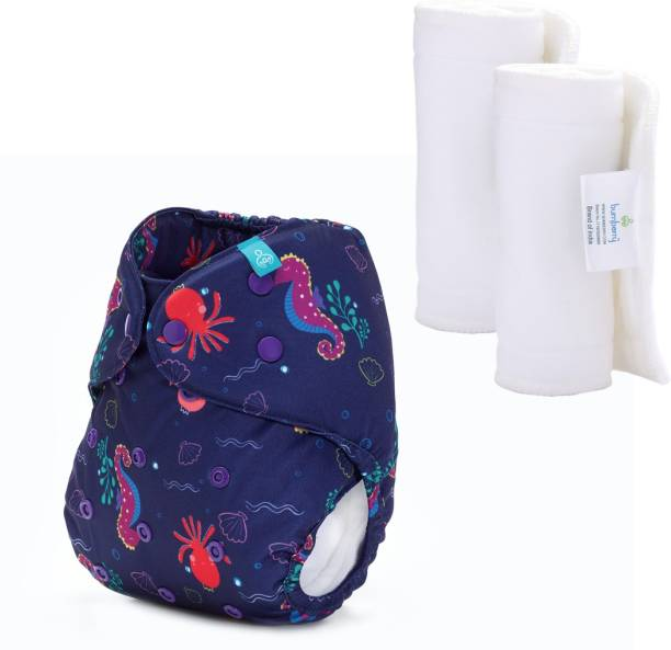 bumberry Adjustable Reusable Cloth Diaper Cover With 2 Wet Free Insert For Babies (Seahorse 3-36 Months)