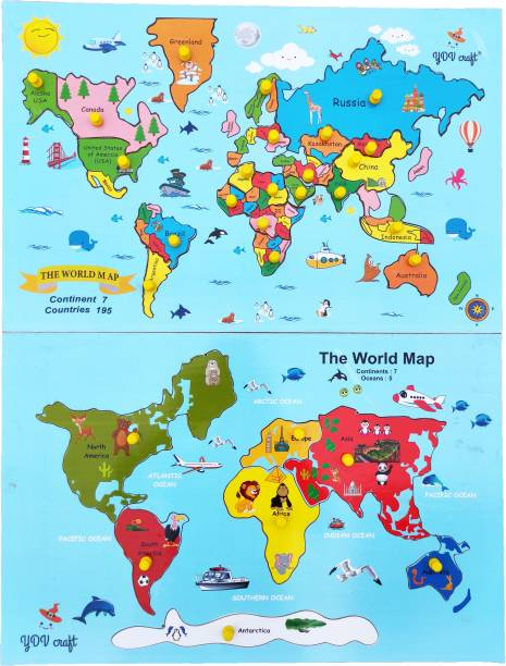 YDV CRAFT Wooden WORLD MAP CONTINENT PUZZLE WITH KNOB BACKSIDE PRINTED CONTINENT FACTS kids theme wall size jigsaw floor puzzle for boys, girls 25 pieces for 3 yrs to 10 years Multi color