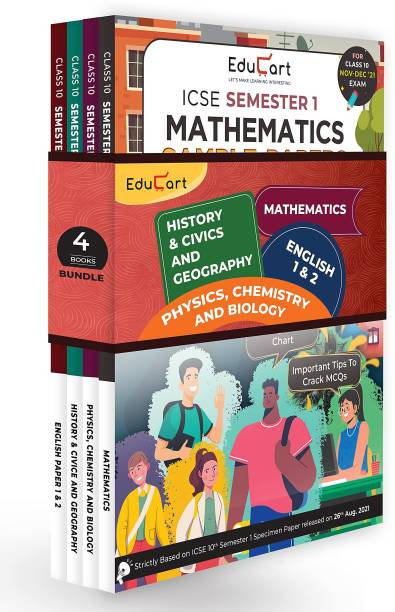 Educart ICSE Semester 1 MCQ Sample Papers Books Main Subjects Bundle Class 10 - English 1 & 2, Maths, Physics, Chemistry, Biology, History & Civics And Geography For 2021-22 (T S Sudhir)