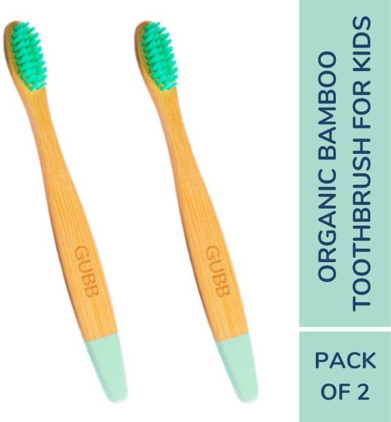 GUBB 100% Organic Natural Bamboo Toothbrush Eco Friendly Toothbrushes with Soft Floss Tip Bristles, BPA-Free, Biodegradable, Dental Care Pack of 2, Kids Extra Soft Toothbrush