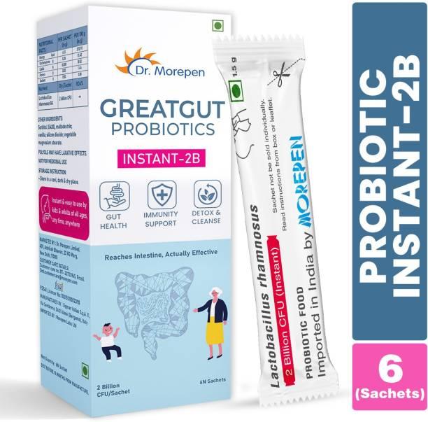 Dr. Morepen GreatGut Probiotics | Instant 2 Billion CFU| Supports Digestive,Gut Health & Detox
