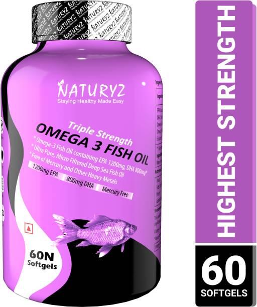 NATURYZ Triple Strength Omega 3 Fish Oil with 2450 mg Omega 3-6-9(EPA 1200mg DHA 800mg)