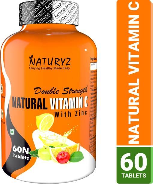 NATURYZ Double Strength Natural Plant Vitamin C & Zinc Supplement 1250 mg for Immunity
