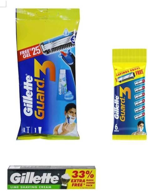 GILLETTE Guard3 razor , 6n cartridges and lime shaving cream