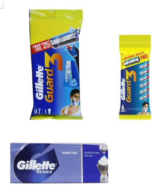 GILLETTE Guard3 razor , 6n cartridges and series shavegel with aloe small size