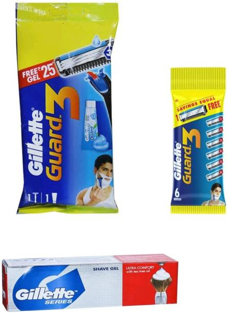 GILLETTE Guard3 razor , 6n cartridges and series shavegel ultra comfort with tea tree oil