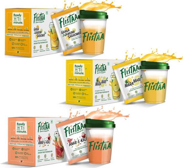 FLISTAA Instant Fruit Juice Mix made with 100% Natural Fruit Powders Ganga Jamuna Saraswati - Orange,Mosambi,Pineapple / MaraMari - Pineapple,Mosambi / Anarkali - Pomegranate, Apple, Each Box Contains 6 Sachets