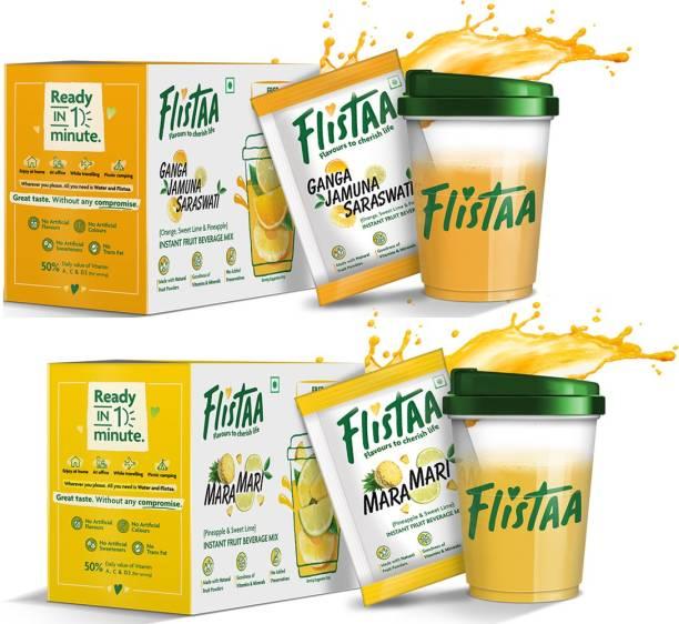 FLISTAA Instant Fruit Juice Mix made with 100% Natural Fruit Powders Ganga Jamuna Saraswati - Orange,Mosambi,Pineapple / MaraMari - Pineapple,Mosambi Each Box Contains 6 Sachets