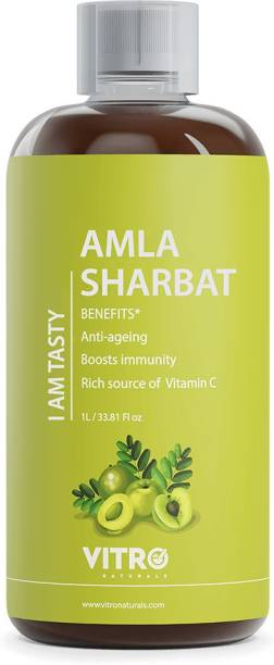 VITRO I AM TASTY Amla Sharbat | No added Sugar | Healthy Sharbat | Rich source of vitamin-C | Immunity booster | 100% Natural | 3 Litres | Each1 litre - Pack of 3