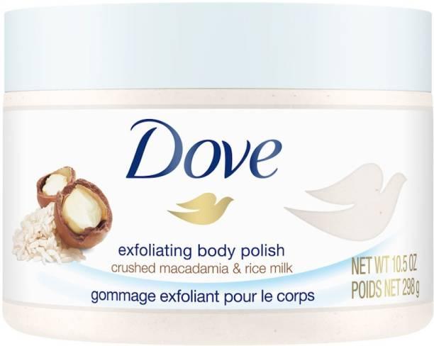 DOVE Exfoliating Body Scrub | Rice Milk and Moisturizing Macadamia 298 gm Scrub