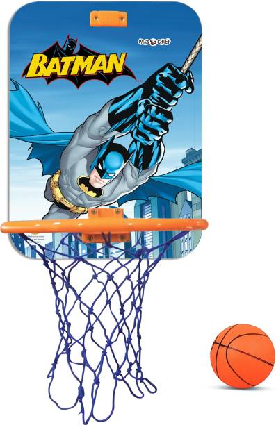 Miss & Chief Batman Licensed Hanging Basket and Ball Set for Kids Basketball