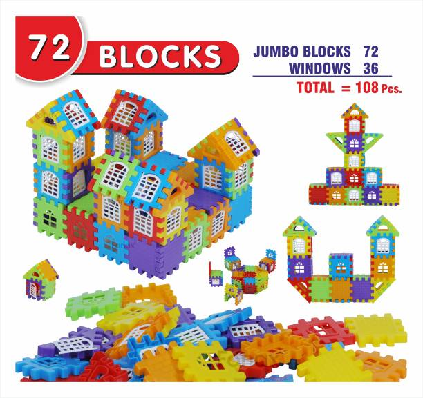 Fonax Creative 72Pcs Jumbo Building Blocks for Kids – (72 Blocks and 36 Windows) My First Happy Home Building Blocks toy for kids.