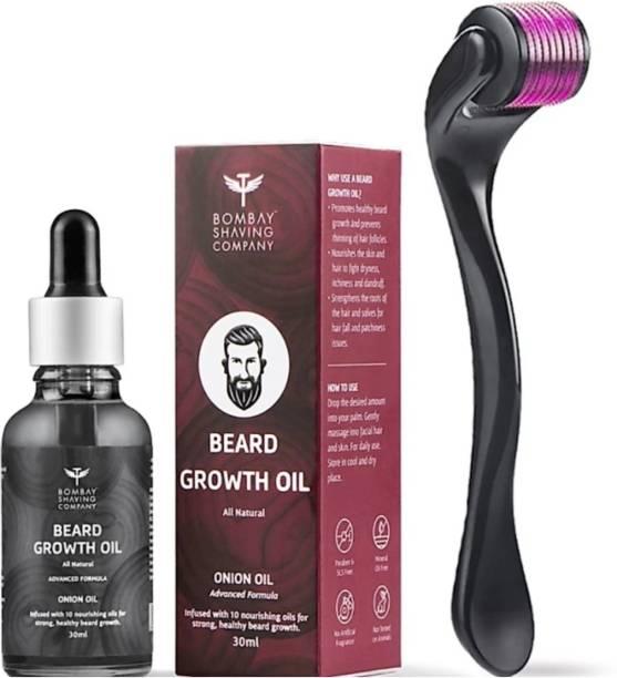 BOMBAY SHAVING COMPANY Beard Growth Kit with Onion Beard Growth Oil for Men & Beard Activator (Derma Roller Activator) For Fast Beard Growth