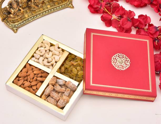 PRIDE STORE Diwali Dry Fruits & Nuts Gift Pack, 300gm [Cashew, Almond, Dates and Raisins] - Healthy & Perfect Gift Hamper for Every Occasion | | Diwali Dry Fruits Gift Hampers Pack | Diwali Festival Celebration | Deepawali Gift Pack For Family, Friends, Birthday, Corporate Office Gifts Combo Paper Gift Box
