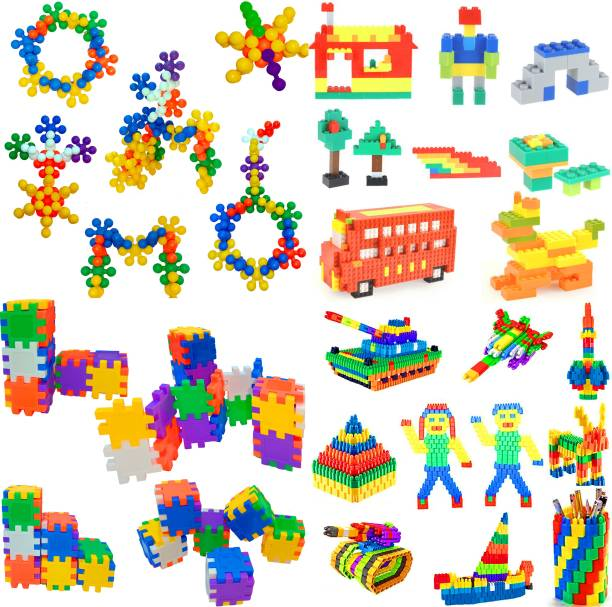 HeyKids 4 in 1 UNIVERSAL BEST BABY GIFT Light-Weight Building Blocks, Creative /Learning Toy/Educational Toy/For Kids Puzzle Assembling Building Unbreakable Kids Toy Set