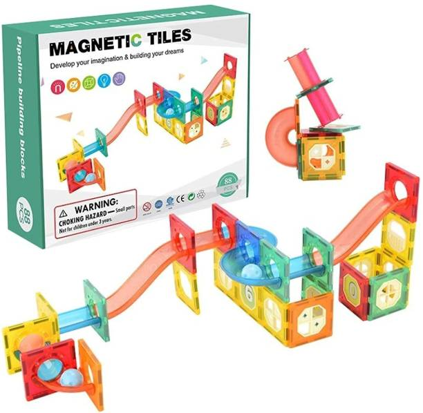 Happy Hues MAGNETIC TILES-Magnetic Pipe Building Blocks Set(3D)-Marble Run/ Model Building-STEM Learning & Education Kit- For Kids 3+ years (88 Pieces Multicolour)