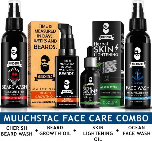 MUUCHSTAC Herbal Beard Growth Oil, Cherish Beard Wash, Ocean Face Wash and Herbal Skin Lightening Oil ( 4 Items in a Set )