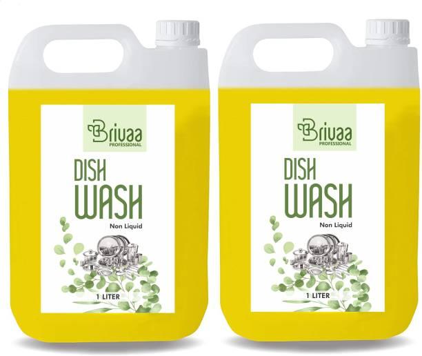 brivaa 10 LTR Non Acidic dish wash Liquid Detergent (10 l) Dish Cleaning Gel Dish Cleaning Gel (lemon, 10L) Dishwash Bar