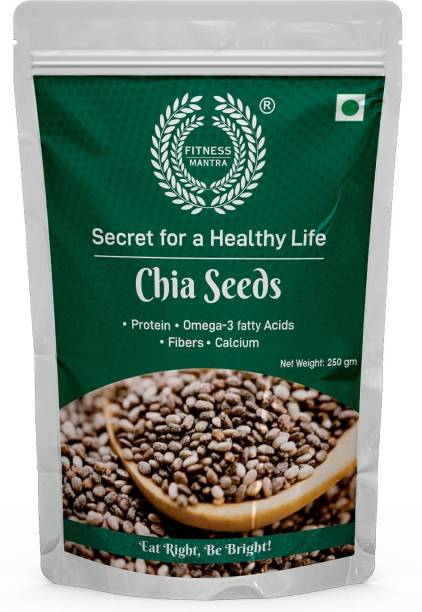 Fitness Mantra Organic Chia Seed (250 GM) for Weight Loss | Contains fibre & Protein | Great with Shakes, Smoothies