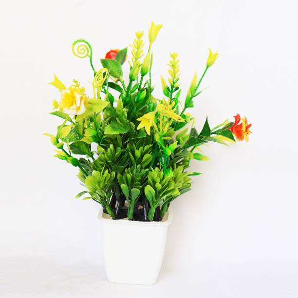 HANIRY Home ::Office Table Decoration or Gift Table Flower Pot Bonsai Wild Artificial Plant with Plastic Flower Basket