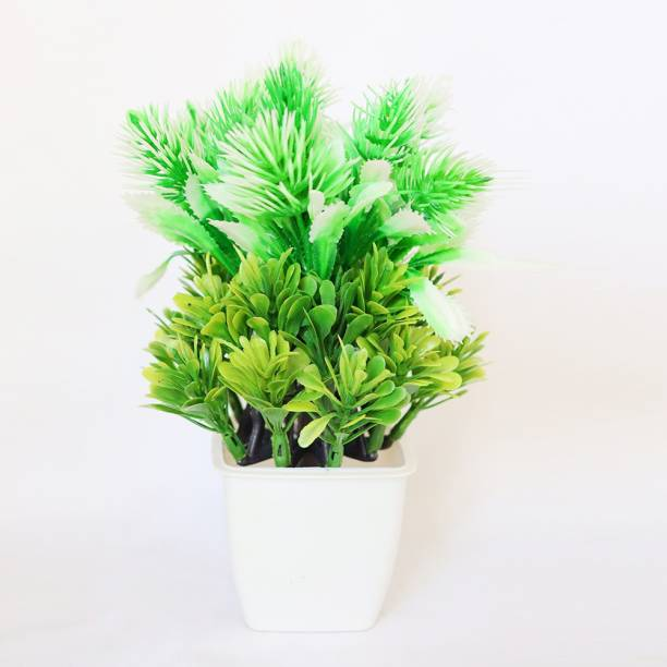 HANIRY Home/?Office Table Decoration or Gift Table Flower Pot Bonsai Wild Artificial Plant with Plastic Flower Basket