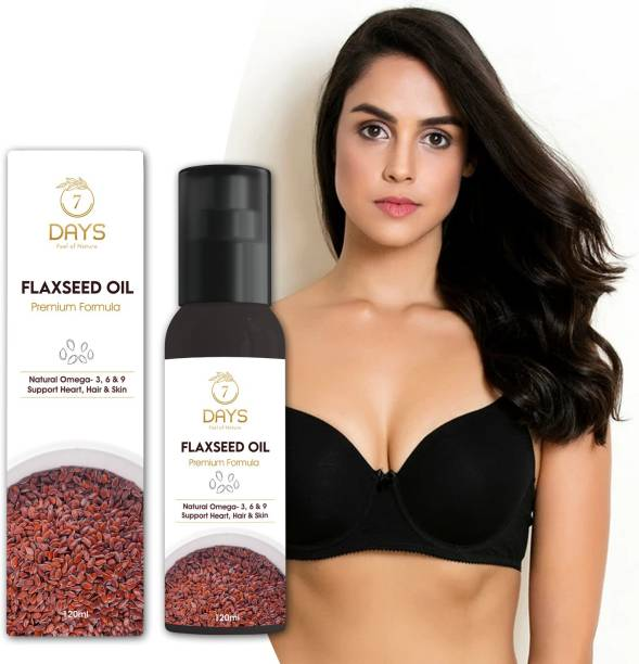 7 Days Flaxseed Oil (Cold Pressed) For Skin Breast Growth & Hair- 120ml, Natural and 100% Pure (Organic) Hair Oil