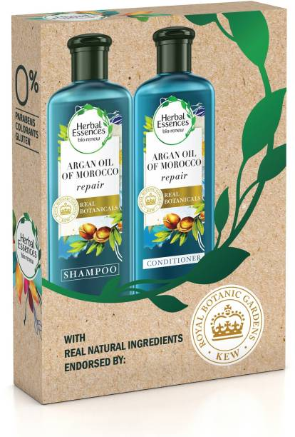 Herbal Essences Argan Oil of Morocco Shampoo For Frizzy Hair, Damaged Hair & Argan Oil Conditioner Hair care Combo Box for Smooth, Frizz-Free Hair- No Paraben, No Colorants, 240ml Each