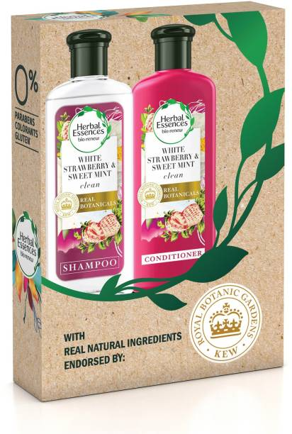 Herbal Essences White Strawberry & Sweet Mint Shampoo and Conditioner Combo - For Cleansing and Volume - No Paraben, No Colorants, 240ml Each