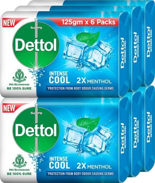 Dettol Intense Cool Bathing Soap Bar, 2X Menthol, 125g (Pack of 6)