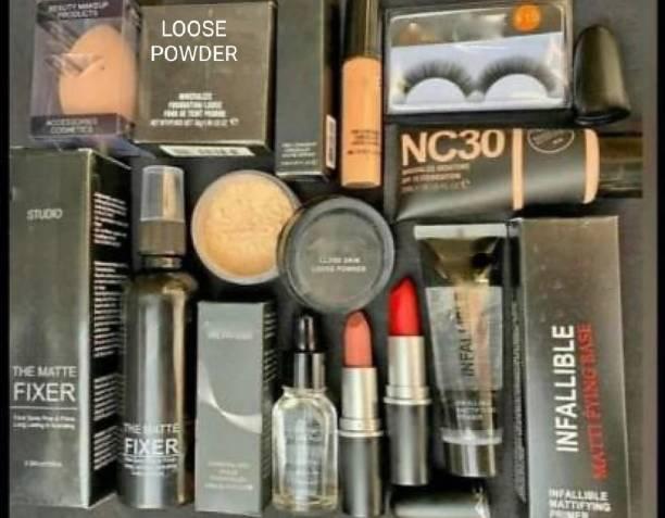 VANAC Makeup combo kit of 10pcs foundation,loose powder, eyelashes, beauty blender, concealer,face serum,fixer, lipstick,gel primer