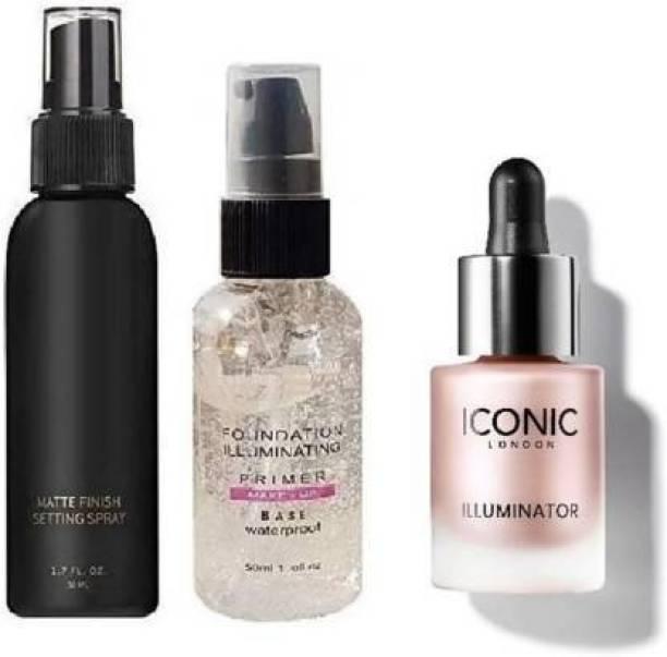 MEDHILE Fixer + ICONIC london Illuminator Liquid Highlighter (Shine) + Illuminating Gel Face Makeup Primer (3 Items in the set)