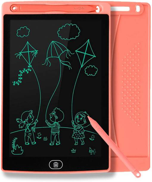 DODGE 'N WOLVES Portble 8.5 Inch LCD WritingTablet / Drawing Board / Doodle Board / Writing Pad / slate for children - Reusable Portable Ewriter Educational Toys, Gift for Kids Student Teacher Adults Portable Rugged Drawing Notepad Suitable for Home School Office Memo Notebook Portable & Reusable Electronic Notepad & Drawing Doodle Ruff Pad with Full Erase Mode, Lock Screen Function - Red color