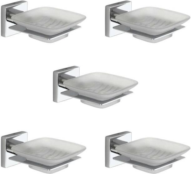 Peppa™ Stainless Steel Wall Mounted Square Soap Dish with SS Holder (Pack of 5)