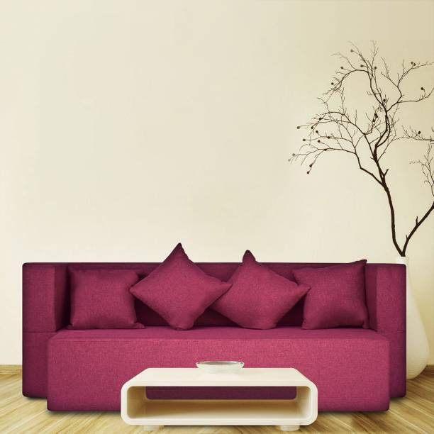 Fresh Up 4 Seater Sofa cum Bed 78x36x14 inches - Jute Fabric Washable Cover with 4 Cushions-Maroon, 2 Year Warranty, Seat Height 14inches Double Sofa Bed