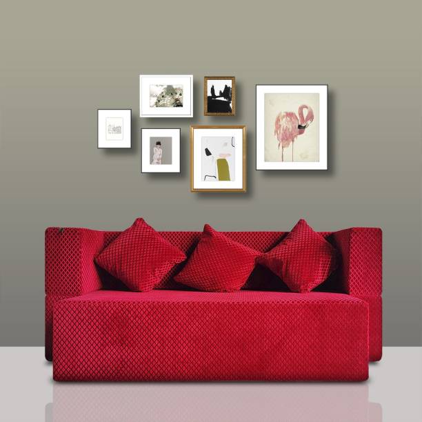 Fresh Up 3 Seater Sofa cum Bed 72x36x14 inches - Soft Velvet like Fabric Washable Cover with 3 Cushions-Maroon, 7 Years' Warranty, Seat Height 14inches Double Sofa Bed