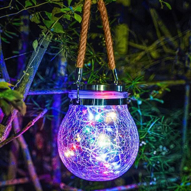 Epyz Solar Lantern Outdoor Hanging 20 led Jar Light Waterproof Crack Glass Globe Garden Light for Party Christmas Decoration Light [ Multicolour ] Solar Light Set