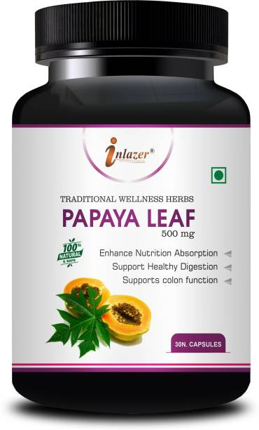 inlazer Papaya Leaf Ayurvedic Capsules For promotes digestive health, Treats Dengue and Malaria, Functions as an anti-aging supplements, Boost immune system, Maintain healthy blood platelets Count 100% Herbal