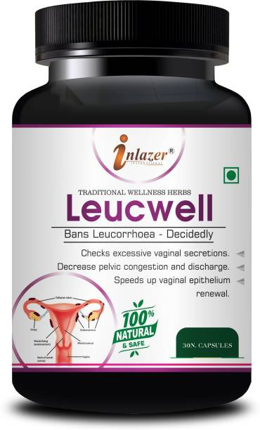 inlazer Lucewell Ayurvedic Capsules For Help in removing leucorrhoea, Beneficial in Hormonal Problem, Benefits in all type of White Discharge, Beneficial in Menopausal Symptoms 100% Herbal