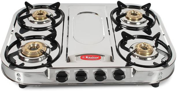 """Khaitan 4 Burner Draw """"FT"""" (with party cooking burner) Stainless Steel Manual Gas Stove"""